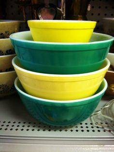 green & yellow pyrex
