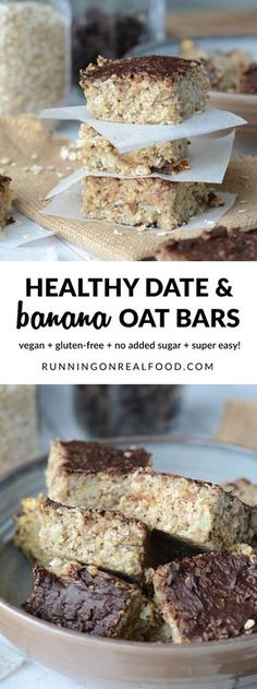 These healthy vegan date banana oat bars are oil-free, gluten-free and have no added sugar. Top with dairy-free chocolate chips for a special treat! Easy to make in one bowl, make a great grab-n-go breakfast, healthy snack or dessert. Healthy Vegan Snacks, Vegan Treats, Healthy Sweets, Vegan Desserts, Breakfast Healthy, Paleo, Breakfast Muffins, Vegan Baking, Healthy Baking