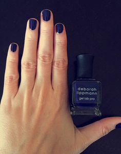 Deborah Lippmann Gel Lab Pro Nail Color in After Midnight has a rich, navy color and incredible shine. Essie Gel, Gel Manicure, Nail Polishes, Gel Nail Polish, Gel Nails At Home, Dry Nails, Butter London Patent Shine