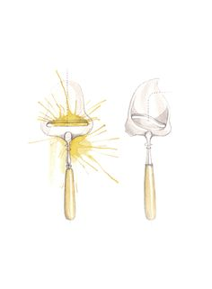 """""""Ostehøvler"""" (Norwegian cheese slicers)  Copyright: Emmeselle.no   illustration by Mona Stenseth Larsen Pencil Painting, Watercolor Paintings, Childhood Memories, Norway, Retro, Drawings, Poster, Cutlery, Inspiration"""