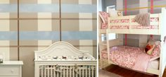 Plaid Accent Wall in the Nursery - what a great look! #nursery