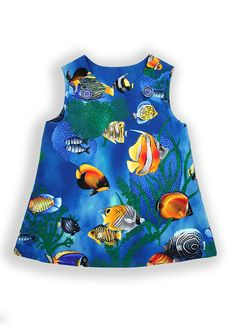 ZARA Under The Sea Pocket Pinafore Dress. Discover the amazing world under the sea! Bright and colourful sea life print. Super comfortable and practical cotton pinafore dress, allowing lots of movement, with big adventure pockets for storing little treasures (size 6 months without pockets). Ideal to play and feel free.