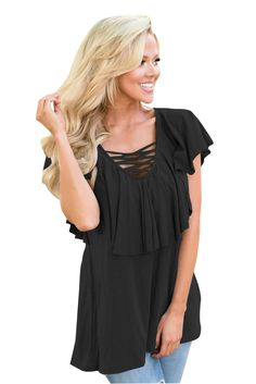 Black Deep V Neck Lace up Ruffle Short Sleeves Top, this is a good ruffle styled clothing piece for slender body types because it created volume. Sweater Fashion, Fashion Pants, Fashion Outfits, Tops Online Shopping, Pants For Women, Clothes For Women, Women's Clothes, Ruffle Shorts, Short Tops