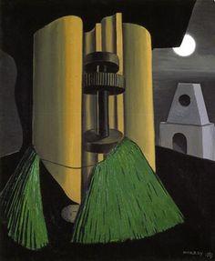 """By Man Ray, 1939, Jumelle avec le """"A"""", oil on canvas."""