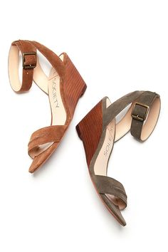 Suede mid heel wedges for summer