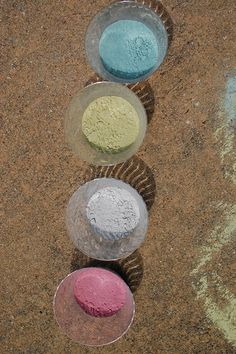 Sidewalk chalk paint. Of course smashing them inside plastic bags beats shaving them down on the pavement! From Amy at Positively Splendid.
