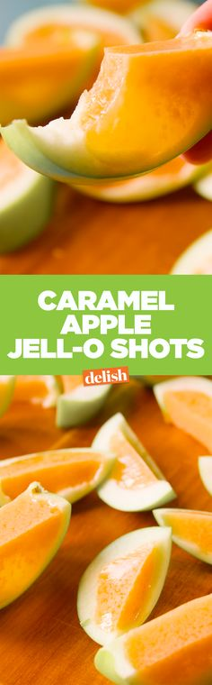 Caramel Apple Jell-O Shots are the best way to get your #ThirstyThursday on this fall.  Get the recipe on Delish.com.