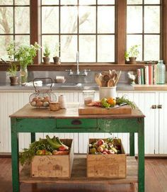 love this kitchen island, love the green....