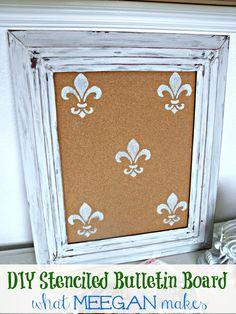 DIY Fleur De Lis Stenciled Bulletin Board