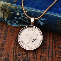 1939 80th Necklace, 80th Birthday Gift Her, Farthing Coin Necklace, 1939, 80th Birthday Mum, English Coin Necklace, Holly Willoughby Coin Copper Anniversary Gifts, Anniversary Present, Coin Necklace, Pendant Necklace, English Coins, 80th Birthday Gifts, Holly Willoughby, Gold Plated Necklace, Present Gift