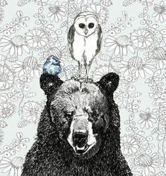 Bear Owl et Illustration  trois une foule par corelladesign sur Etsy