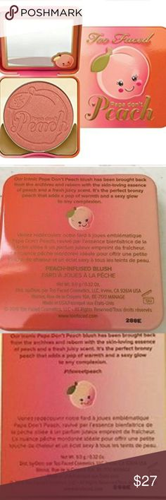 🍊Too Faced Papa Don't Peach Blush Brand new box 🍊Too Faced Papa Don't Peach   🍊Peach infused blush smells delish!  🍊Brand new in box!  🍊Unused untouched unswatched  💯💯Authentic Too Faced Makeup Blush