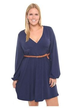PLUS Size Trend Of The Day...Navy Blue Balloon Sleeve Sweater Dress From Torrid | PLUS Model Magazine