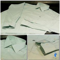 Τρικολίνα Αγγλίας (βαμβάκι) σχέδιο λαχούρι. Γιακάς Ημι-Rex,Μανσέτα κοφτή Κουμπί και κουμπότρυπα λευκή Μονόγραμμα καλλιγραφικό στην αριστερή πλευρά του πουκαμίσου.