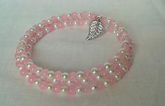 Memory wire bracelet, Charm bracelet, Cuff bracelet, Bracelet, Pearl bracelet, lightweight, acrylic pearl ladies bracelet, girls bracelet - pinned by pin4etsy.com