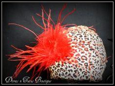 Safari Cotton Beanie with Red Ostrich Puff