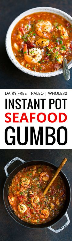 Whole30 Instant Pot Seafood Gumbo recipe. This Who…
