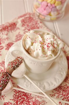 Malted Hot Chocolate with Marshmallow Stir Sticks