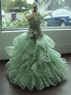 Green lace ruffle 1/12th scale ballgown.