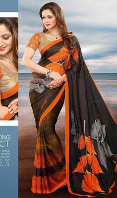 Real Attractiveness Can Come Out Out Of Your Dressing Design With This Deep Gray & Orange Faux Georgette Saree. This Appealing Attire Is Showing Some Terrific Embroidery Done With Block Print Work. #MajesticOrangeLeafDesignSaree