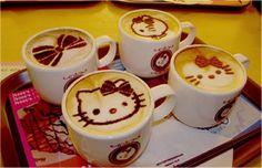 Cat coffee art, so cute!