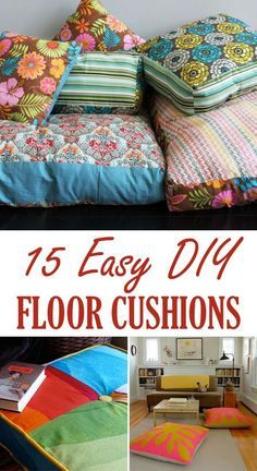 Easy and decorative floor cushions that you can DIY. Sewing Pillows, Diy Pillows, How To Make Pillows, Pillow Ideas, Throw Pillows, Cushion Ideas, Diy Simple, Easy Diy, Mousse Pour Banquette