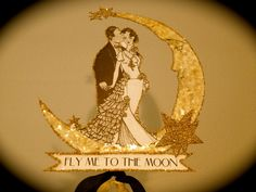 Golden Moon Wedding Cake Topper  Crescent by JolieEnRoseVintage, $37.00