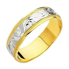 14K Yellow and White Two Tone Gold Satin Milgrain Engraved Designer Wedding Band Ring for Men & Women Goldenmine. $253.00. Promptly Packaged with Free Shipping and Free Gift Box...Perfect for Gift Giving. This ring includes a Comfort Fit for easy wearing.. Classic Styling with Up-to-date Manufacturing Techniques to ensure Comfort and ease of wear.. This item showcases a high polish finish for a stunning sparkle and pop. Expertly crafted from only the finest 14K gold avail...