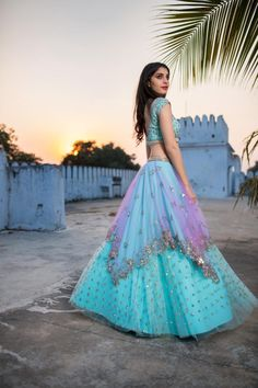 Happiness level : Dancing on the terrace!!! Beautiful powder blue color designer lehenga and blouse with hand embroidery work.   29 December 2017