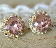 Crystal stud big vintage pink earring - 14k plated gold post earrings real swarovski rhinestones .