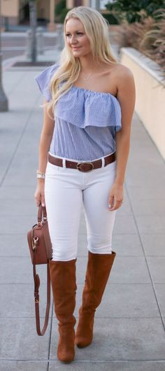 Blue and white one shoulder ruffle shirt, white jeans and brown accessories - love this outfit!