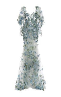 Embroidered Botanical Tulle Gown by MARCHESA