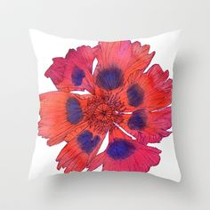 Red Poppy Throw Pillow by Sofia Perina-Miller - $20.00