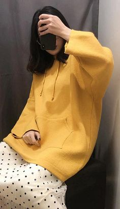 Fashiontroy Street Style long sleeves yellow oversized hooded solid color sweater autumn winter Petite Clothing Online, Asian Street Style, Fall Winter, Autumn, Petite Outfits, Korean Fashion, Hoods, Fashion Outfits, Yellow