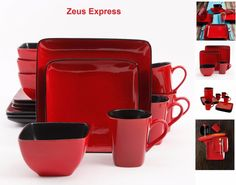 Red Square Dinnerware Set 16-32 PC Kitchen For 4-8 Plates Bowls Mugs Black USA #Gibson