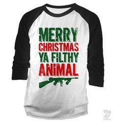 Merry Christmas Ya Filthy Animals Baseball Shirt
