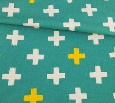 Brush Stroke Cross - Teal - Japanese Linen