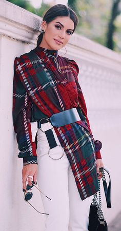 Plaid + white skinnies