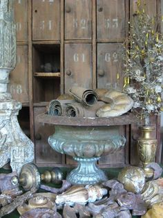 Architectural remnants, finials and knobs! An Old World Wonderland!