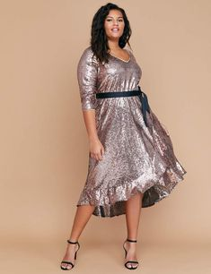 915488680e2a Lane Bryant Sequin Fit & Flare Faux Wrap Dress Trendy Plus Size Dresses,  Plus
