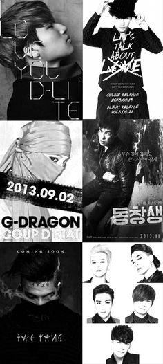 BIGBANG ♡ G-Dragon , Daesung , TOP , Seungri , and Taeyang . So PROUD of BIGBANG and their solo projects for this year.