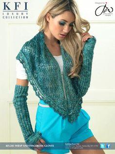 Luxury Silk Wrap & Fingerless Gloves - KFL205 from  by  at KnittingFever.com