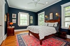 Harmony between carpet and wall, so much beautiful Warm Bedroom, Bedroom Decor, Master Bedroom, Navy Walls, Bedroom Carpet, White Ceiling, Persian Carpet, Bedroom Styles, Wall Colors