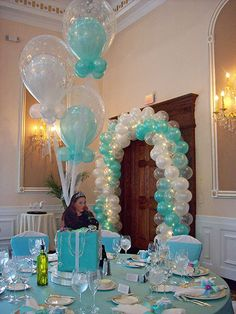 Tiffany Balloon Arch over Doorway with Lights