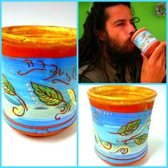 """Free spirit cup, blowing leaves painted on a tea cup, with """"love"""" word in hebrew by PotterPainter on Etsy"""
