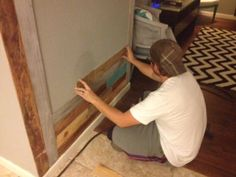 Putting in a wood wall. #diy #woodwall