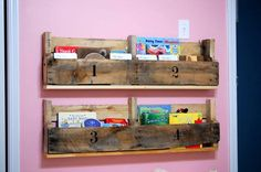 Pallet Shelves Projects custom wooden pallet bookshelves - Checkout here these DIY pallet ideas for kids that are sure to boost up the fun of your kids! The awesome pallet ideas would also help your kids to learn new Wooden Pallet Crafts, Wooden Pallet Furniture, Diy Pallet Projects, Woodworking Projects, Wood Crafts, Kid Projects, Weekend Projects, Wooden Crates, Furniture Plans