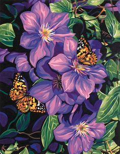 "Clematis & Butterflies Paint By Number Kit 11""X14"""