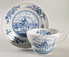 Johnson Brothers Tulip Time Blue (White Background) Oversized Cup & Saucer Set