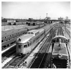 "Chicago, Burlington & Quincy Railroad's ""California Zephyr"", one of the nation's greatest trains, is leaving Chicago for the Pacific Coast, making a cross-over on the main line tracks south of the Chicago's Union Station in October 1963."